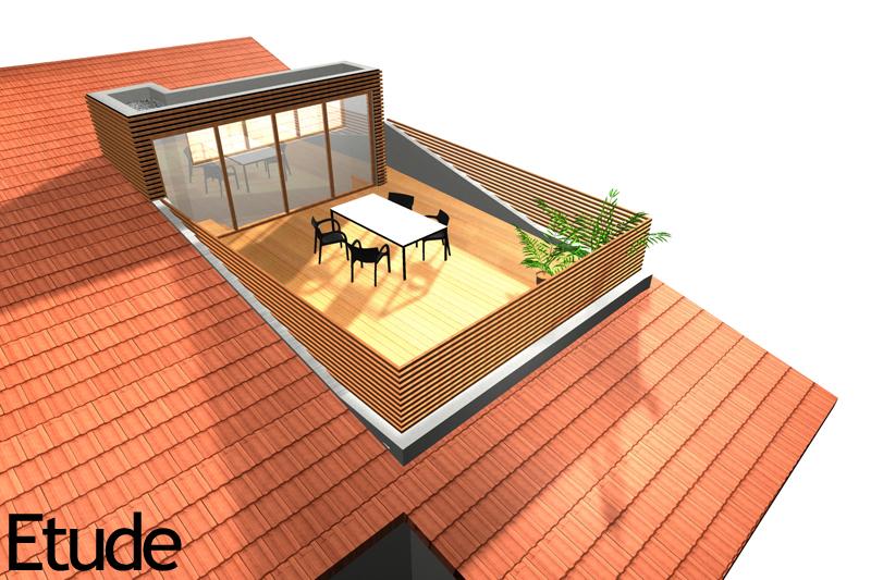 Cr ation d 39 une terrasse en toiture - Transformer un toit classique en toit terrasse ...