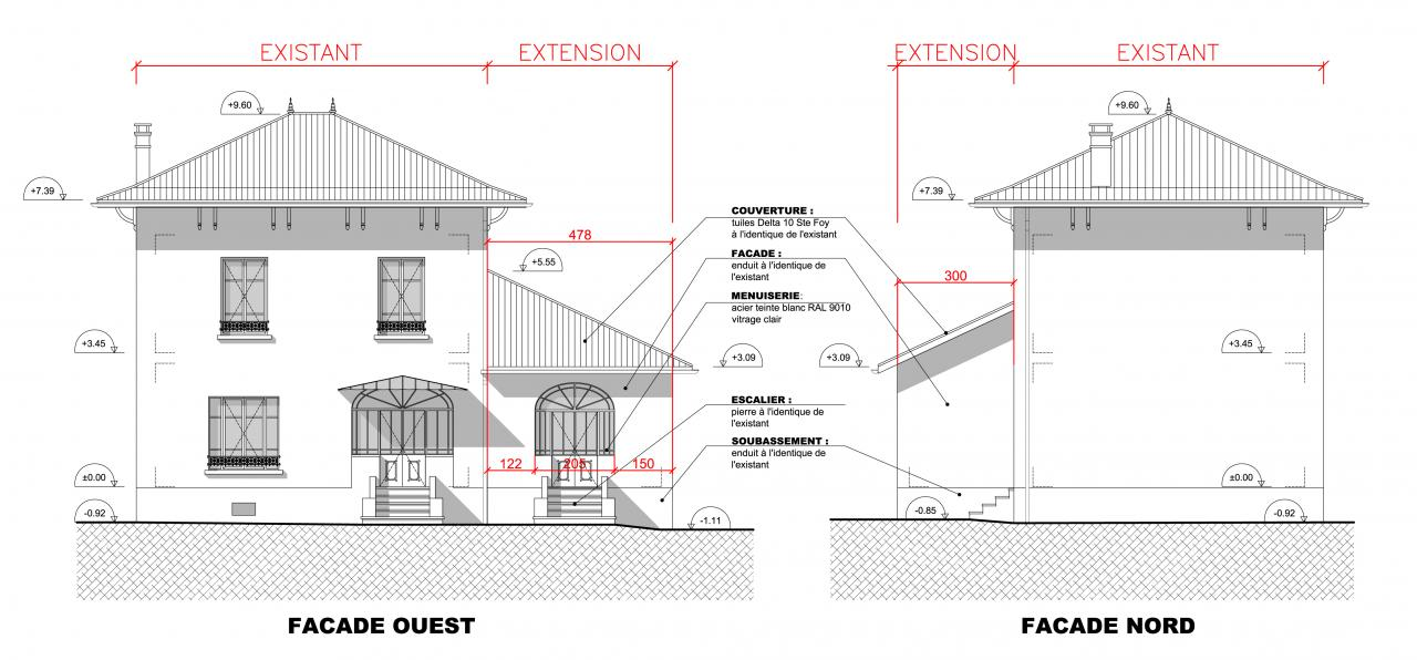 Plan Elevation Maison : Extension d une maison en rdc